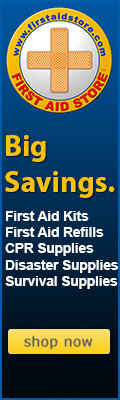 Image of First Aid Store™ logo and text reading: Big Savings. First Aid Kits, First Aid Refills, CPR Supplies, Disaster Supplies, Survival Supplies